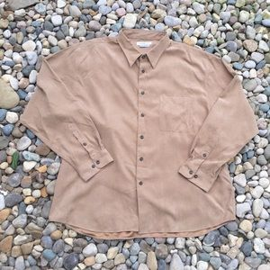 Men's Long Sleeve Tan Suede Dress Shirt Size XXL